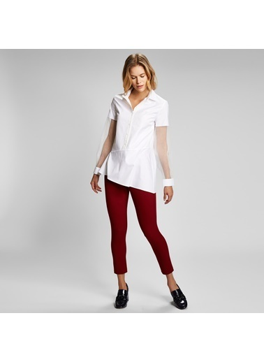 Vekem-Limited Edition Uzun Transparan Kol Detaylı Asimetrik Kesim Gömlek Beyaz